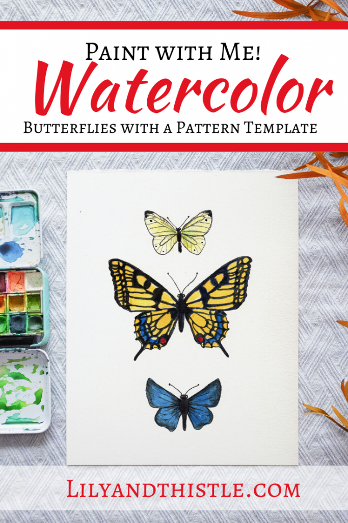 How to Watercolor Paint Butterfly and Moths. Easy watercolor tutorial with step-by-step video instructions and a template. For beginners and kids.