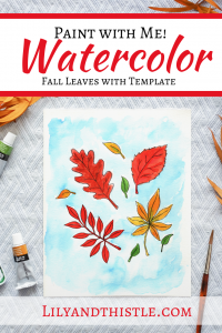 How to Watercolor Paint Fall Leaves. Easy watercolor tutorial with step-by-step video instructions and a template. For beginners and kids.