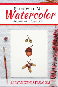 How to Watercolor Paint acorns. Fun and easy watercolor painting tutorial complete with step-by-step video instructions and a template. For beginners and children or kids.