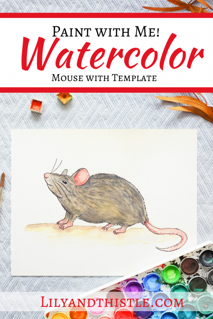 how to watercolor paint a mouse step by step directions with video