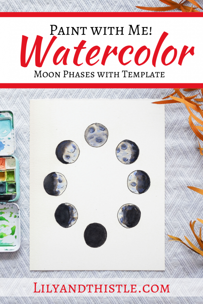 How to Watercolor paint Moon Phases - Step by step video tutorial for beginners and kids