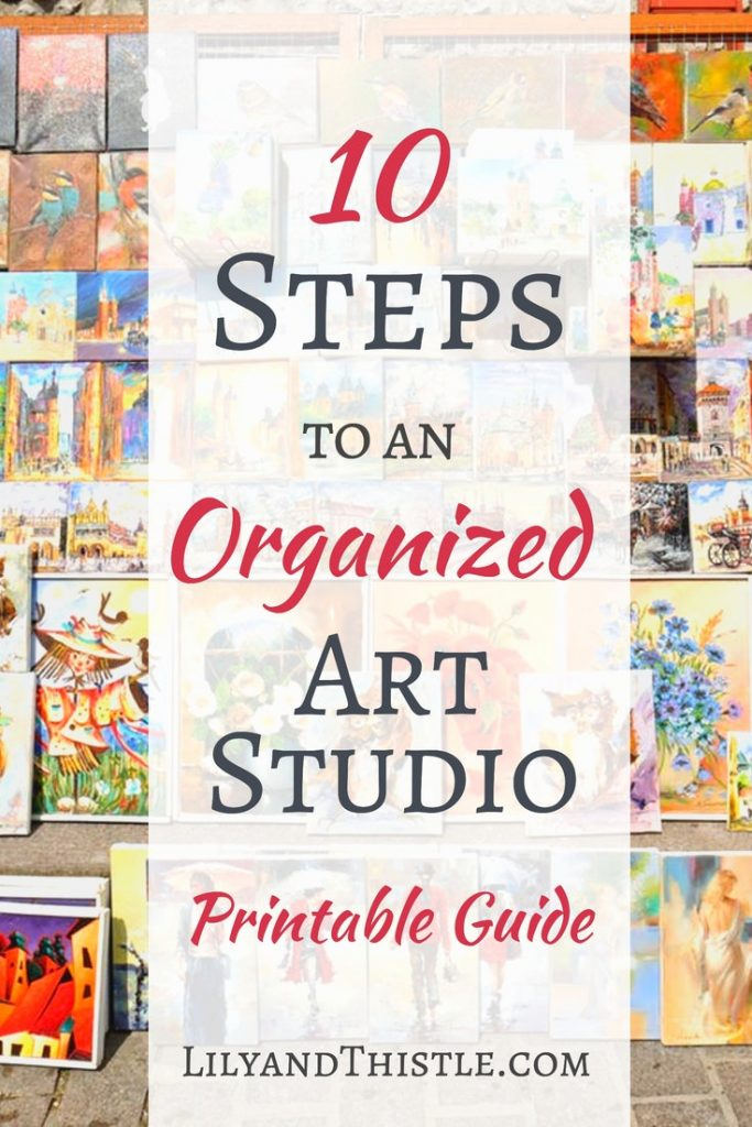 Is keeping your Art Studio clean and clutter free bringing you down? Click through and print out this guide designed for art studio organization ideas. Whether you have a small space or a large workspace, these ideas will help you with your layout and design. Great inspiration! #artstudioorganization #artinspiration #artstudioideas #artstudioinspiration