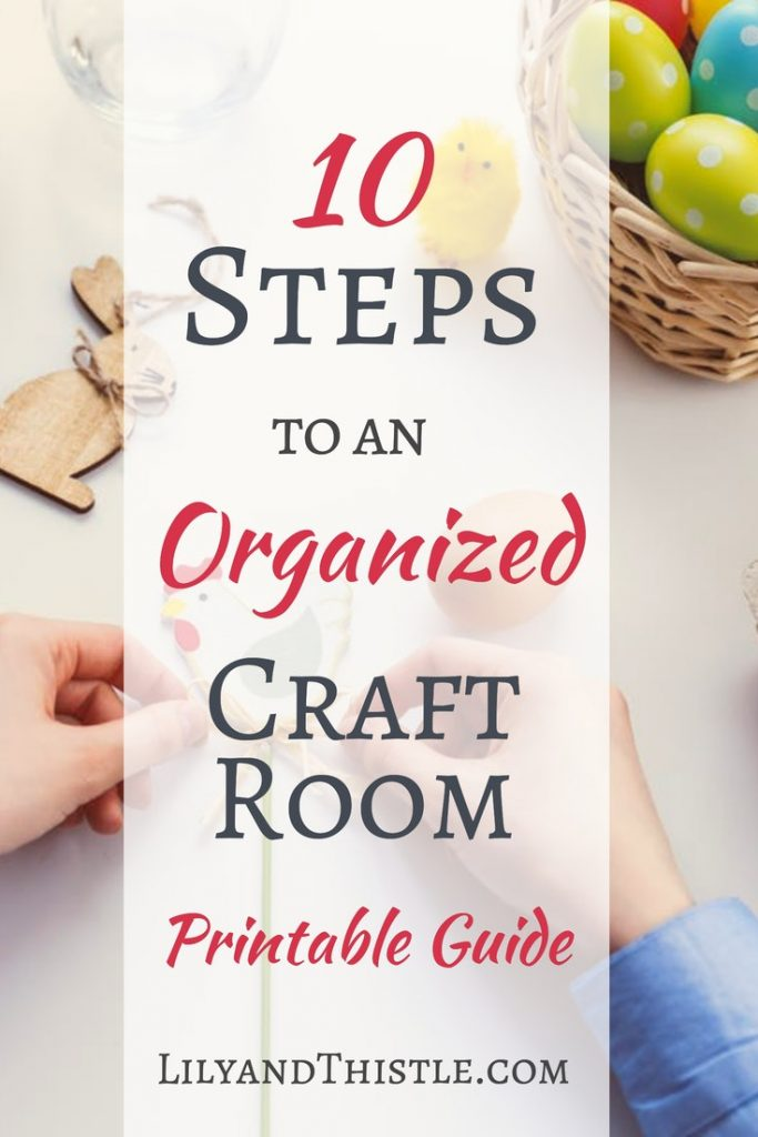 Is your craft room clutter getting you down? Click through for a free printable full of ideas for diy craft room organization on a budget. Whether you are trying to figure out storage or find some small space hacks, you will find some great solutions! #diycraftroom #craftroomstorage #craftroomorganization #craftroominspiration