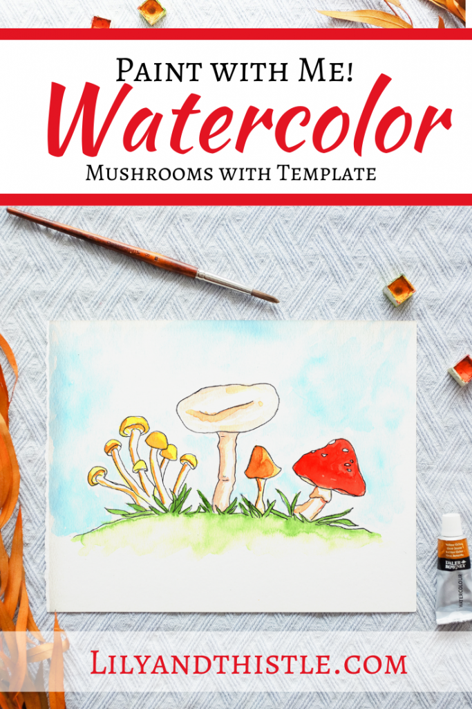 How to Watercolor Paint Mushrooms. Easy watercolor tutorial for mushrooms with step-by-step video instructions and a template. For beginners and kids.