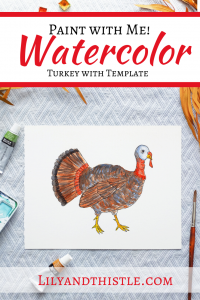 Fun and easy watercolor painting tutorial for a turkey complete with step-by-step video instructions and a template. For beginners and children or kids.