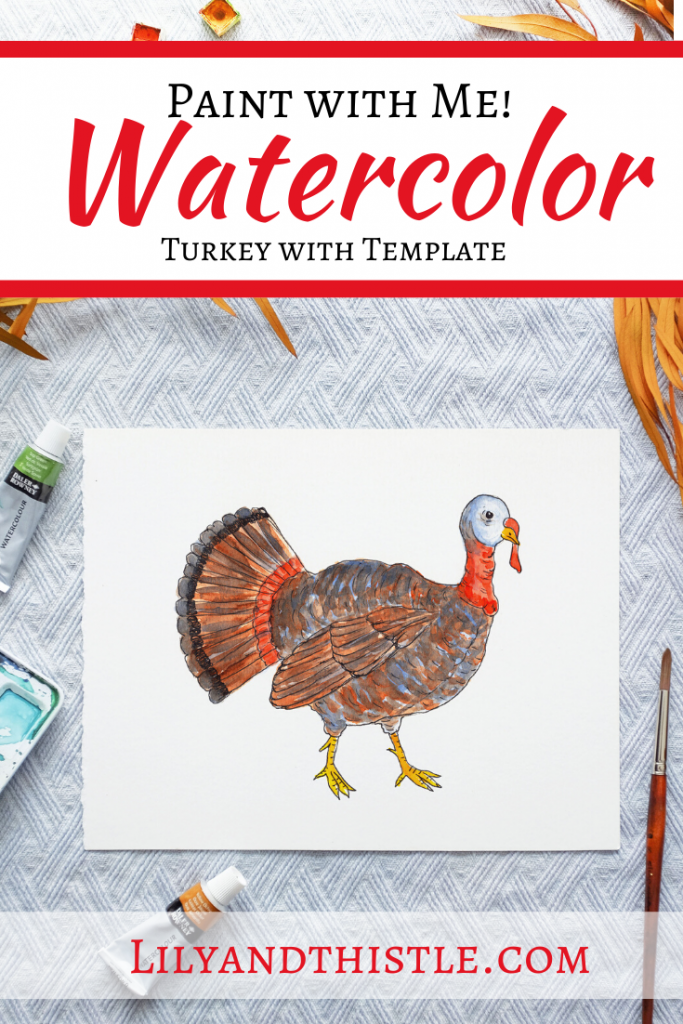 How to Watercolor Paint a Turkey. Fun and easy watercolor painting tutorial for a turkey complete with step-by-step video instructions and a template. For beginners and children or kids.