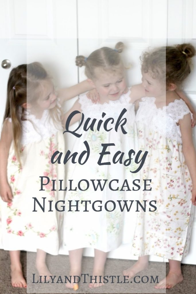 Quick and Easy Pillowcase NightgownsSo easy and fast to make! Use vintage pillowcases to give them a charming, timeless look. Step by step tutorial on how to sew girls nightgowns from pillowcases. No pattern needed. Great beginner project for kids and adults alike! #sewingproject #sewingforbeginners #easysewingidea #sewingforkids #repurposing #sewingkidsclothes