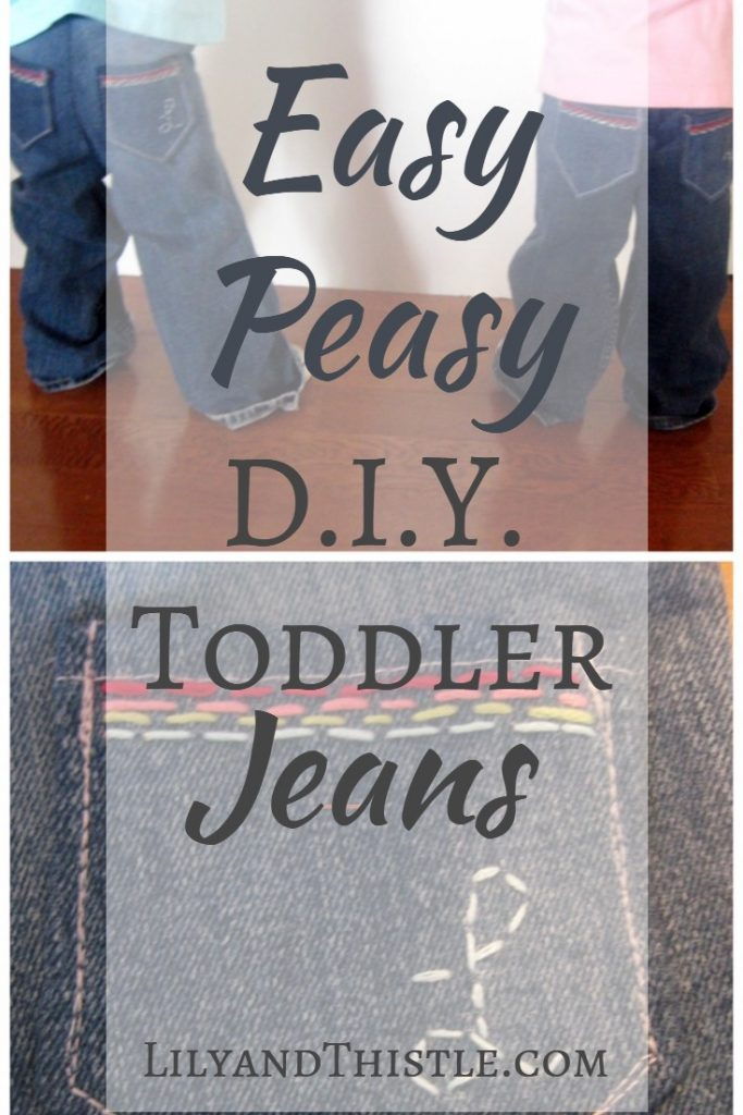 Easy Toddler Jeans DIY Tutorial Easier than you might think! Step by step tutorial on how to make toddler jeans from old maternity pants. No pattern needed. #sewingproject #sewingforbeginners #easysewingidea #sewingforkids #repurposing #sewingkidsclothes