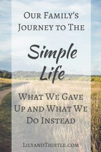 Our Family's Journey to The Simple Life – What We Gave Up and What We Do Instead