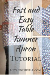 Free Apron Pattern – Using a Table Runner – Fast and Easy