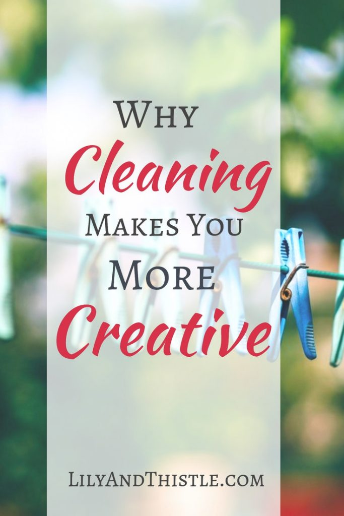 I swear some of my best ideas come when I'm hunched over the toilet bowl with a scrubber. As a busy mom, I'm always looking for cleaning hacks, tips, and tricks. Turns out it creativity and boring housework go hand in hand! Can cleaning actually motivate creative inspiration? Click through to find out why and to get some ideas of your own! #cleaninghacks #cleaningtips #cleaningmotivation #creativecleaning #cleaningideas #stayathomemom #householdchores
