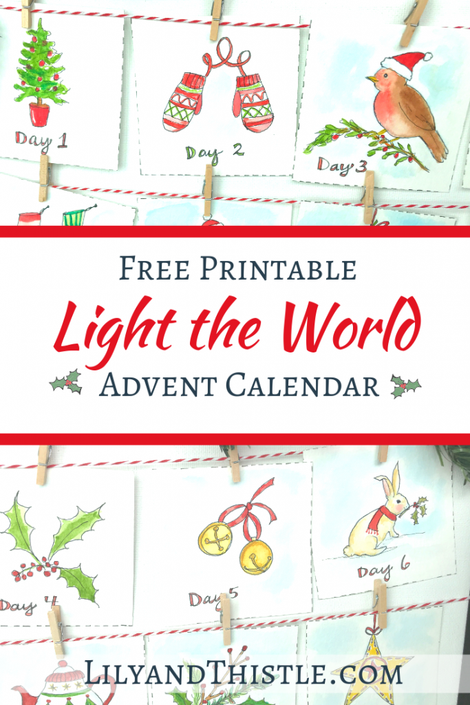 Free Light the World Advent Calendar Printable with Instructions. Christmas isn't Christmas without an advent calendar. Bible Verses and beautiful full color illustrations.