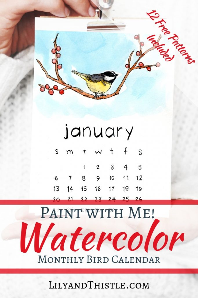 Watercolor printable calendar with free patterns to paint yourself! Free and perfect for beginners. Video tutorial included full of inspiration, techniques, inspiration. Simple but beautiful! Happy 2019!