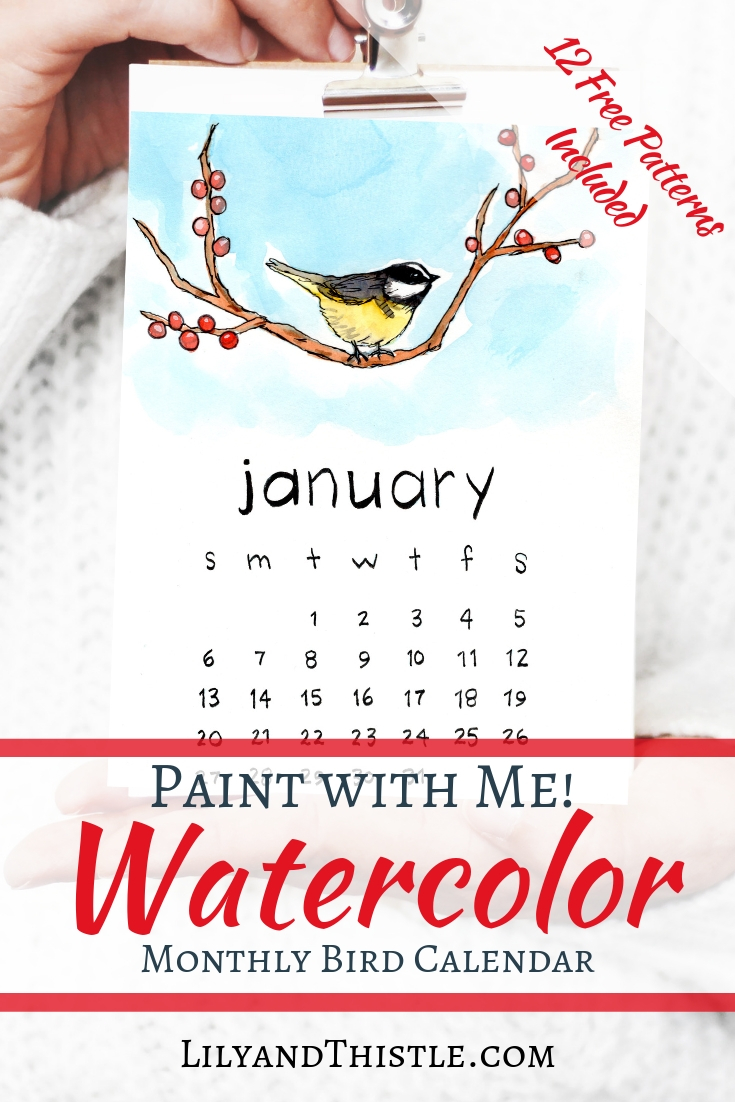 graphic about Free Printable Watercolor Pictures to Paint titled 2019 Watercolor Hen Printable Calendar with Totally free Behaviors