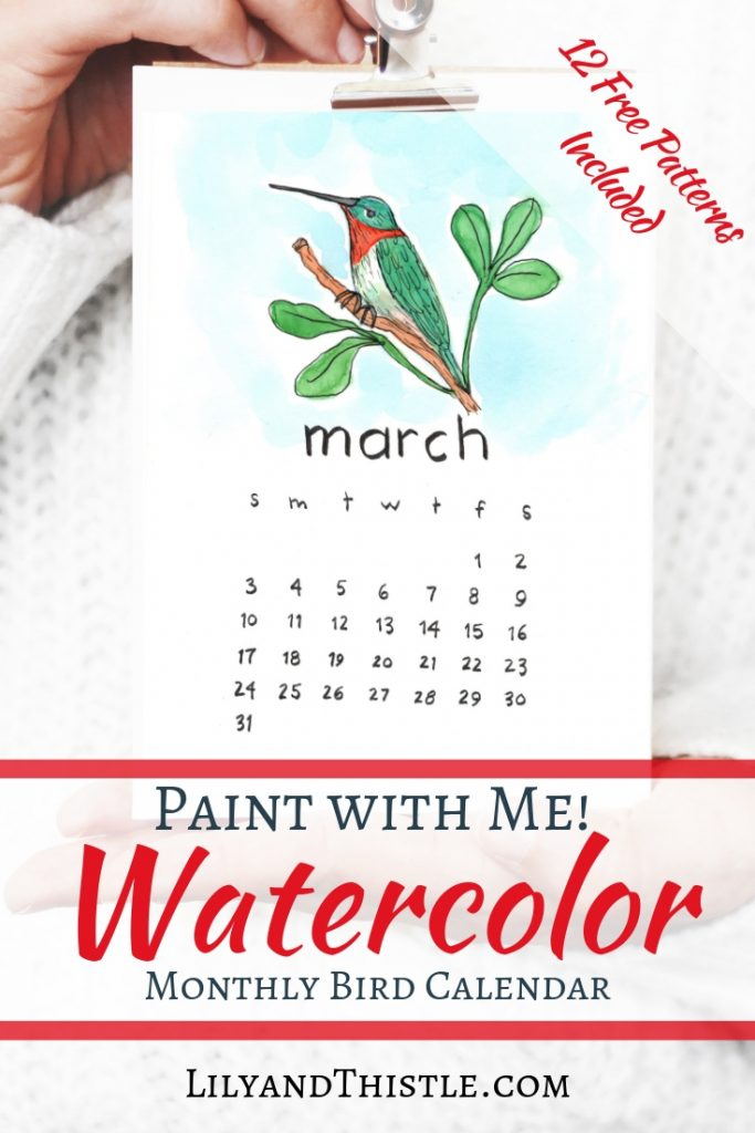 Learn to paint watercolor. Paint along with me. Step by step simple calendar for new year. Perfect for art lessons and tutorials. Free printable calendar 2019