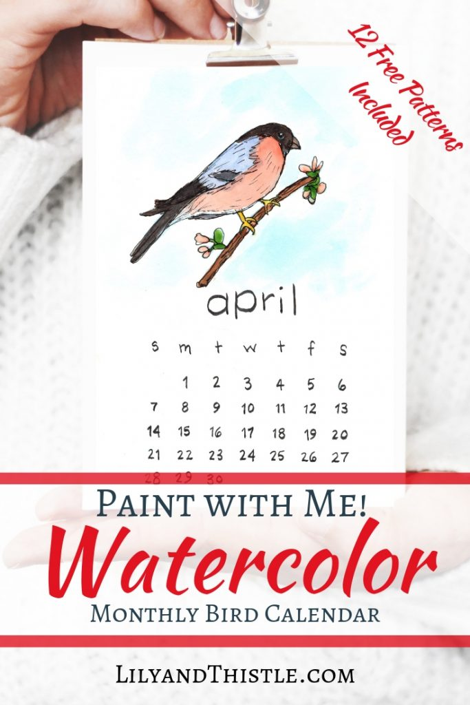 Watercolor for beginners. Paint with me and use my free patterns to make a new DIY calendar for your home. Fun, simple, and free download and video tutorial