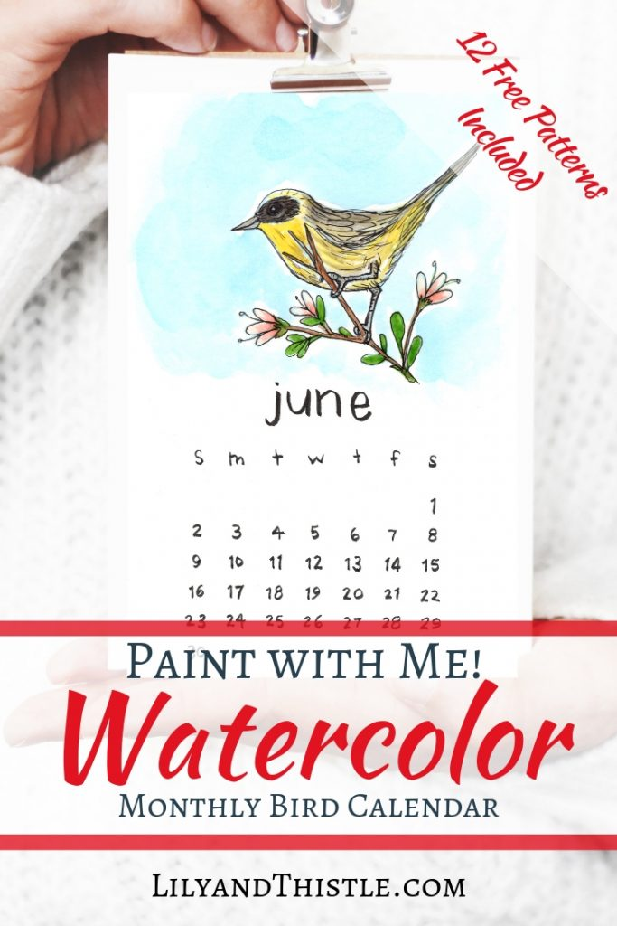 Make a calendar and learn how to watercolor! Easy and fun step by step tutorial with free patterns and printables included. Learn techniques and simple ideas for beginners.