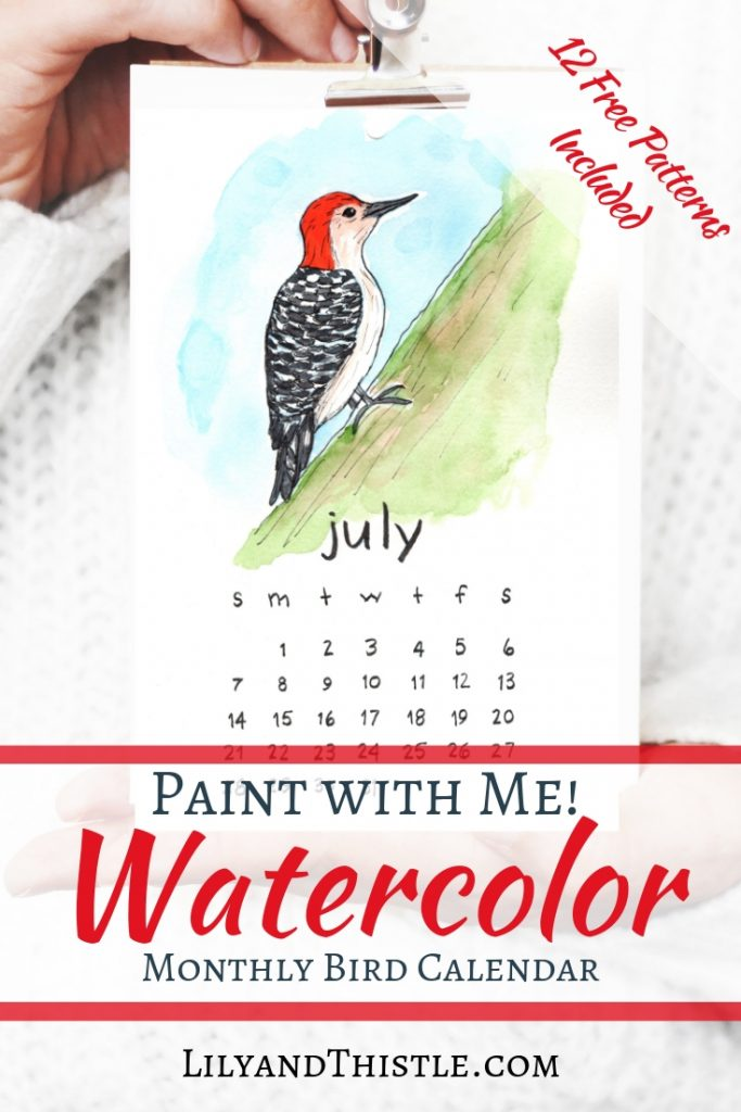 Watercolor 2019 free calendar. Step by step instructions with free patterns and printables included. Simple, fun, fast and easy!