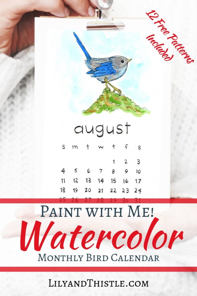 Make a calendar with me today. Paint with watercolor. So much fun for beginners. Free step by step video tutorial and printable patterns to make it fun and easy!