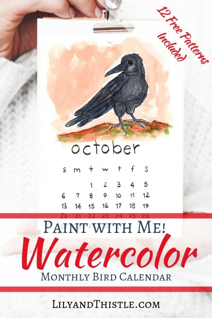Make a halloween crow for October with this fun and free watercolor 2019 calendar tutorial. Fun, fast, free and easy! Video tutorial and free printable calendar included.