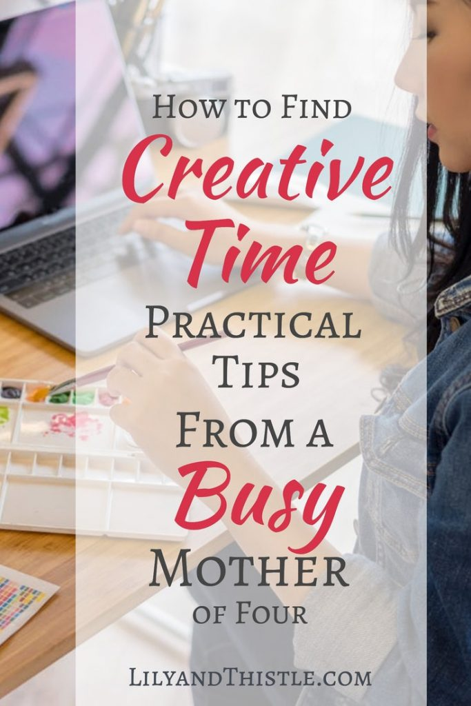 Finding the time to create during the busy years of motherhood is not easy. But self care is so important for our mental health and relationships with others. Think of it as art therapy! This article gives small and easy ways to get creativity and art back into your life. #momlife #creativehabit #makersgonnamake #selfcare
