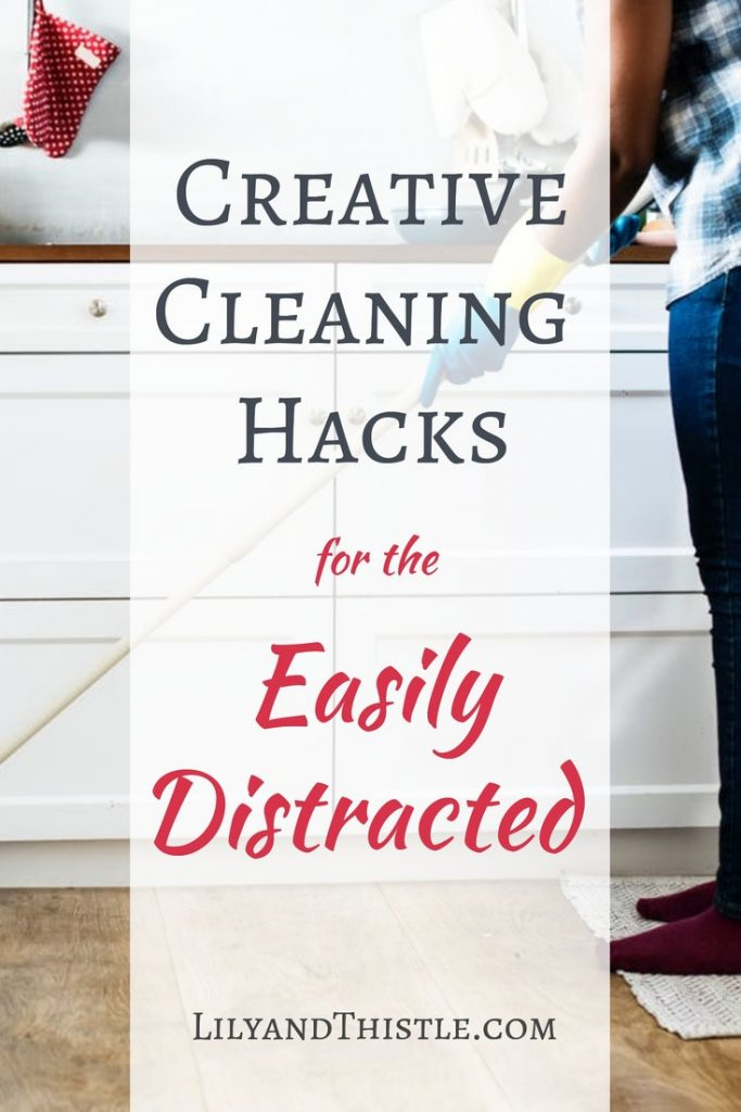 Are you creatively distracted? Me too! I want to show you some cleaning hack, tips and tricks to help organize your home and make it easy for kids and families to help! Whether you are cleaning the bathroom to organizing the closet, these tips will help! #cleaninghacks #cleaningtipsandtricks #organizinghack #clutter