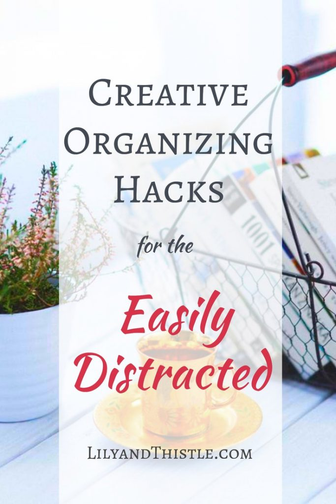 Creative Organizing Hacks for the Easily Distracted. Tips and tricks to help families stay organized. Great to help kids learn organizing and cleaning hacks. from the bathroom to the kitchen. These tips will keep clutter at bay! #cleaninghacks #organizinghack #organizingthehome #cleaningtipsandtricks #clutter