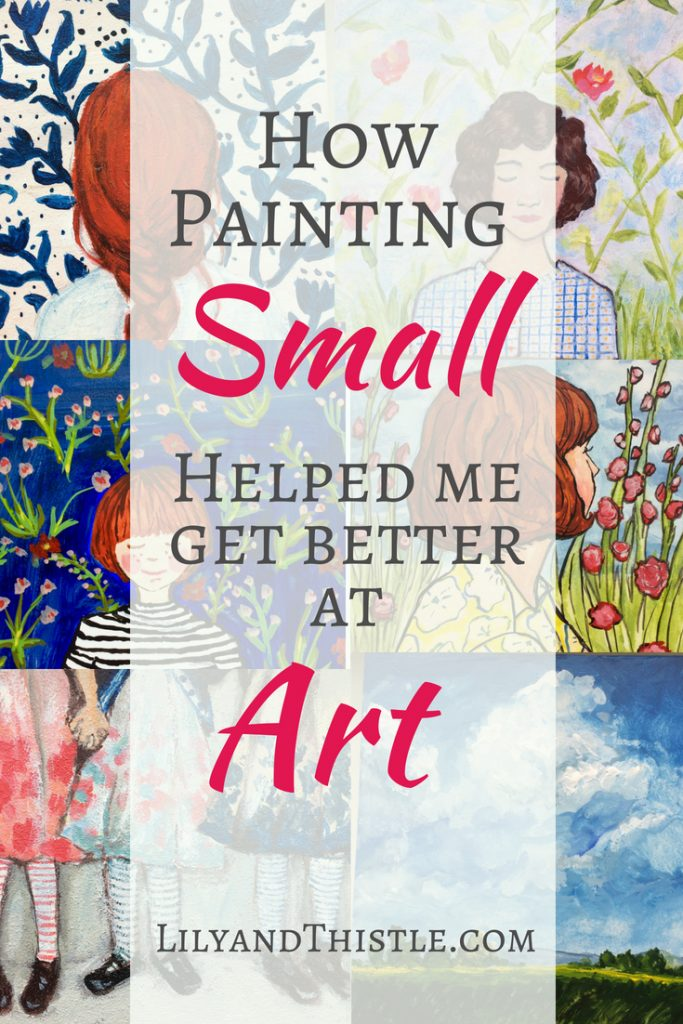 Painting on a smaller canvas is inspiring! It has quickly become one of my favorite art projects! It has given me so much freedom to experiment and enjoy art again. Whether you enjoy painting or drawing, it's easy to get better doing art this way. Click through to see what I do and get a free list of supplies from acrylic paint to tips for canvas. Even if you are a beginner. #artprojects #creativecrafts #paintingproject #paintingideas #minicanvaspaintings #minicanvasart #sketchbook #selfcare