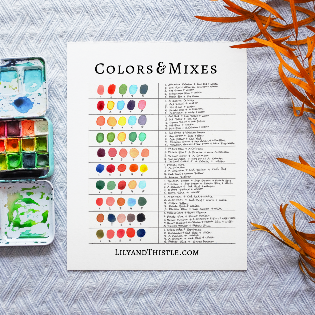 How to Watercolor Paint fall trees. Fun and easy watercolor painting tutorial complete with step-by-step video instructions and free mixing guide. For beginners and children or kids.