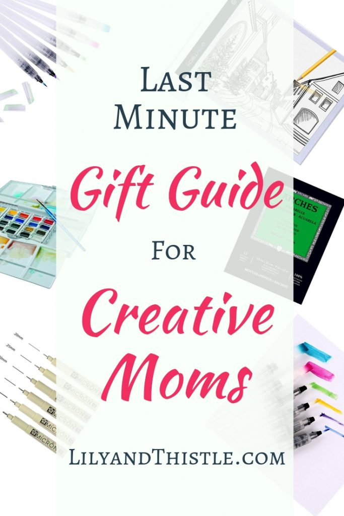 Some of my favorite supplies that can be to your door in just a few days. This is a gift guide for artists, crafters, painters, hand lettering pros or designers who also happen to be moms! Whether you are on a budget or have some extra cash, this guide will give you some great ideas! #paintergiftguide #momgiftguide #creative #handletteringgiftguide