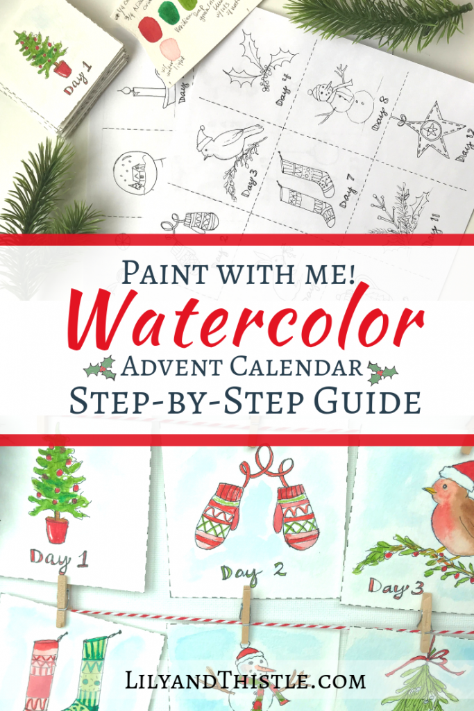 Paint with Me Step-by-Step Watercolor advent calendar with free printable pattern. Perfect for beginners. Bible verses for each day of Christmas Advent