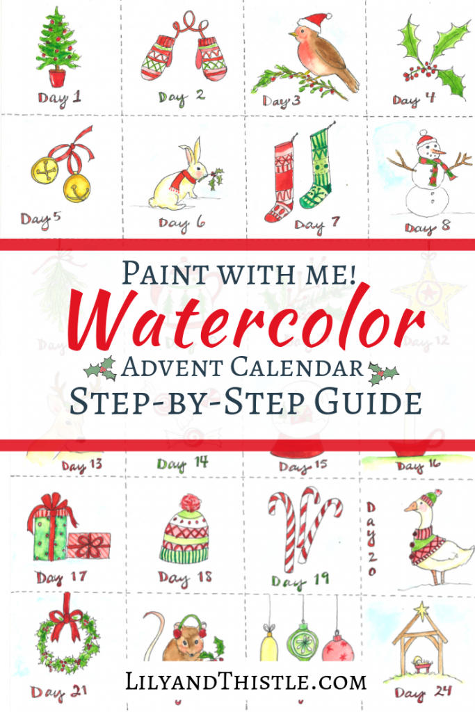 Step-by-step watercolor tutorial to make your own advent calendar. Watercolor tips for beginners