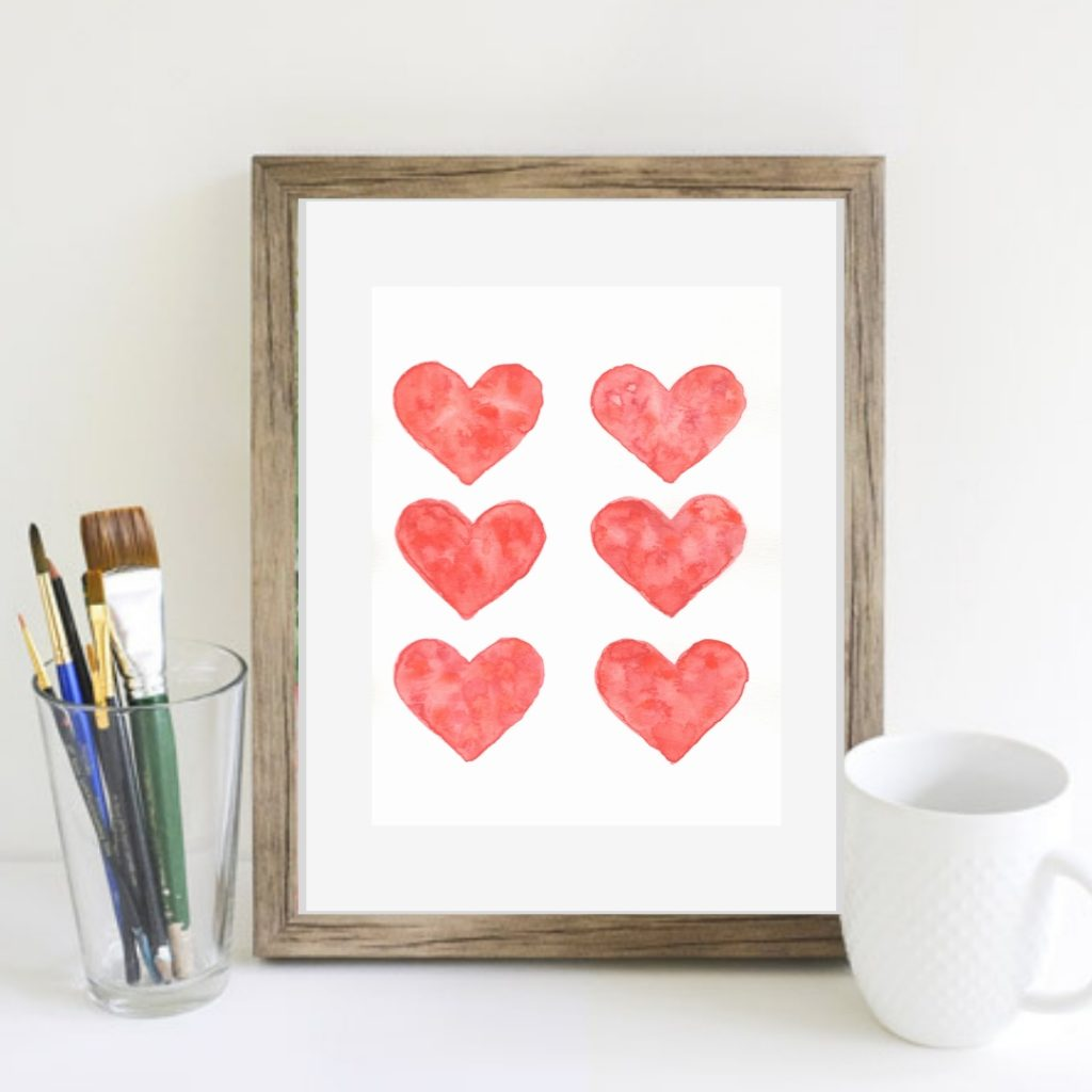 Fun and easy watercolor valentine art tutorial. Perfect gift or just a great way to learn how to watercolor for beginners.