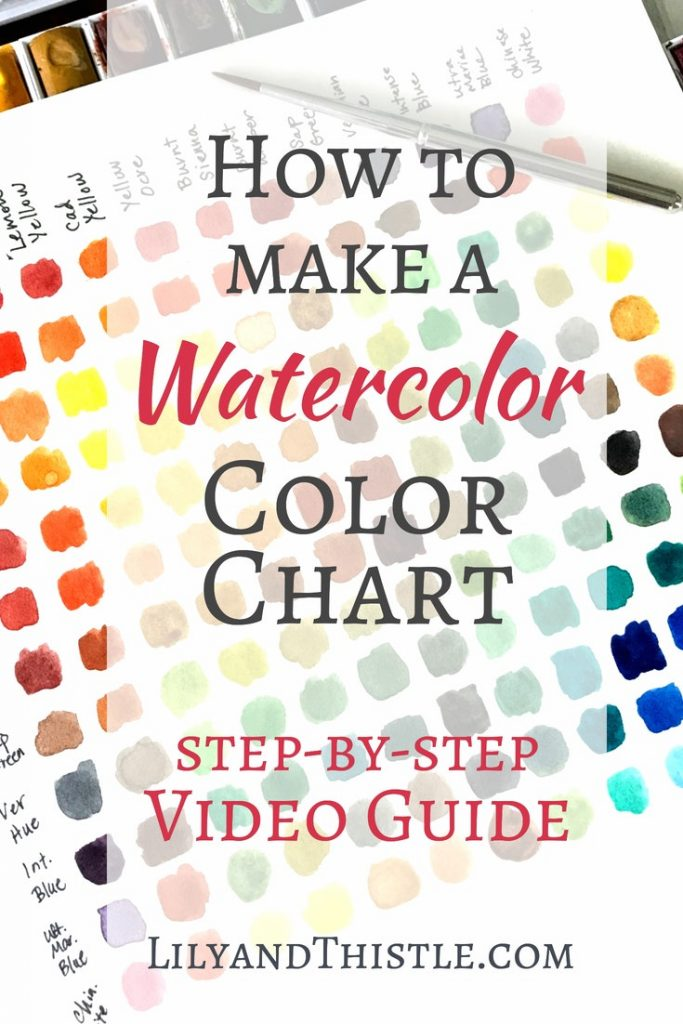 How To Make a Watercolor Chart! Whether you are a beginner with watercolor or just want some new ideas for fun supplies. This is for you! Watercolor is such an easy and fun art technique but it's important to have good tools. This list will give you plenty of ideas for simple but quality supplies to get started on your first project. Video included! #watercolor #watercolortechniques #watercolorbeginner #watercolorsupplies #watercolorprojects #watercolorideas #artproject #selfcare