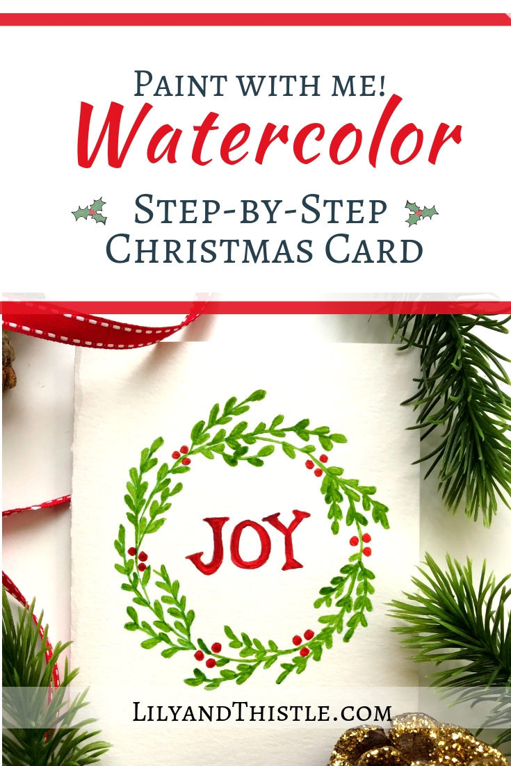 Christmas Card Images Free.Wreath Watercolor Christmas Card Step By Step For Beginners