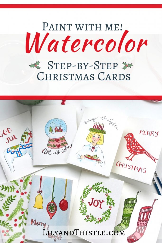 Fun and Easy Step-by-Step Watercolor Christmas Cards with free printable patterns Get started and get inspiration for your new hobby
