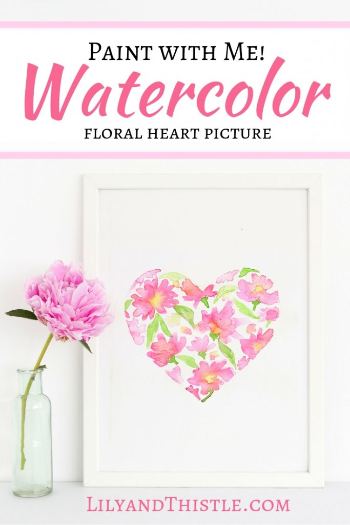 How to Paint Watercolor Flower Heart Tutorial. Step-by-step video for beginners with free printable pattern. So easy and so beautiful. Paint some peonies with me today!