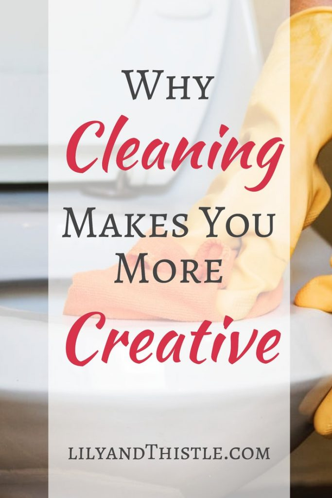 Some of my best ideas come when I am cleaning. Find out why cleaning the bathroom or the kitchen can actually make you more creative. Tips and hacks for clutter busting and creative thinking. #cleaninghacks #cleaningtipsandtricks #bathroomcleaninghack